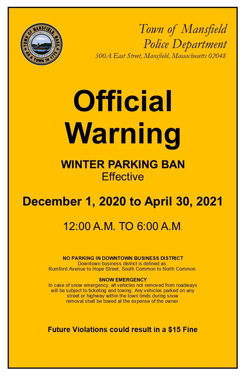 Winter Parking Ban Warnings Print 20-21 - WEBSITE ORANGE