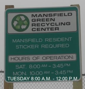 Mansfield Green Recycling Center Mansfield Resident Sticker Required Hours of Operation